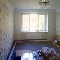 Вид комнаты в процессе отделки